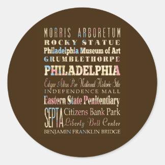 Famous Places of Philadelphia, Pennsylvania. Stickers