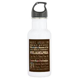 Famous Places of Philadelphia, Pennsylvania. Water Bottle