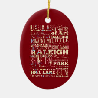 Famous Places of Raleigh, North Carolina. Double-Sided Oval Ceramic Christmas Ornament