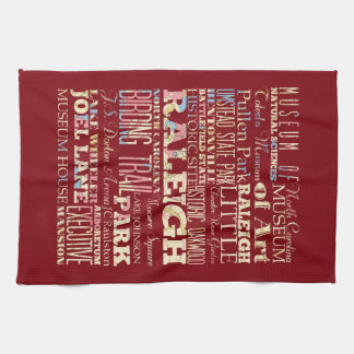 Famous Places of Raleigh, North Carolina. Kitchen Towel