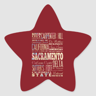 Famous Places of Sacramento, California. Star Sticker