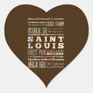 Famous Places of Saint Louis, Missouri. Heart Sticker