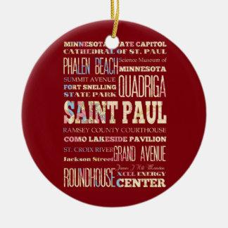 Famous Places of Saint Paul Minnesota Christmas Ornament