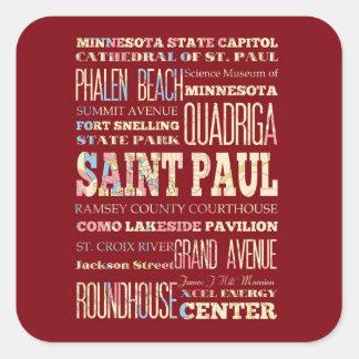 Famous Places of Saint Paul, Minnesota. Square Sticker