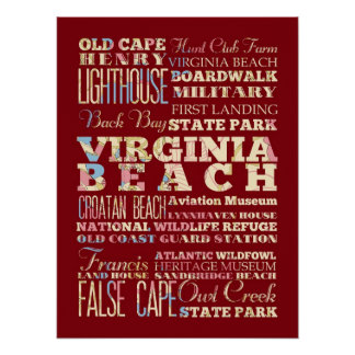 Famous Places of Virginia Beach, Virginia. Poster