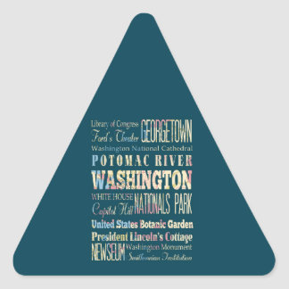 Famous Places of Washington, District of Colombia. Triangle Sticker