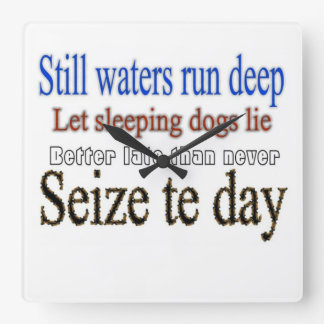 Famous Quotes Sayings Square Wall Clocks