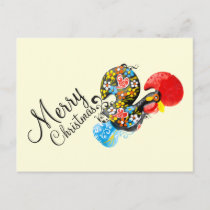Famous Rooster Barcelos Floral 06 Merry Christmas Holiday Postcard
