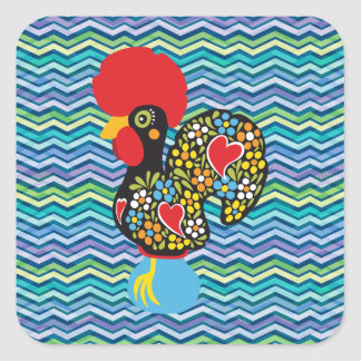 Famous Rooster Barcelos Nr 6 - Psychedelic Chevron Square Sticker