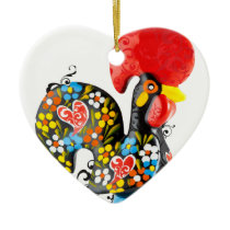 Famous Rooster of Barcelos Nr 06 - Floral edition Ceramic Ornament