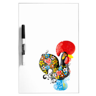 Famous Rooster of Barcelos Nr 06 - Floral edition Dry Erase Board