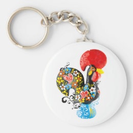Famous Rooster of Barcelos Nr 06 - Floral edition Keychain