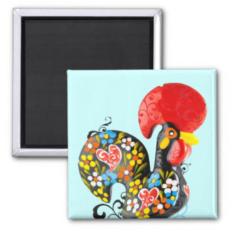 Famous Rooster of Barcelos Nr 06 - Floral edition Fridge Magnets