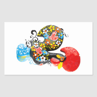 Famous Rooster of Barcelos Nr 06 - Floral edition Rectangular Sticker