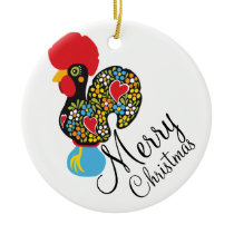 Famous Rooster of Barcelos Nr 06 Merry Christmas Ceramic Ornament