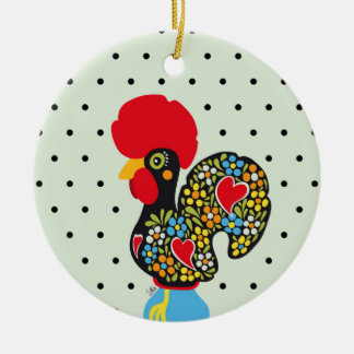 Famous Rooster of Barcelos Nr 06 - Polka Dots Ceramic Ornament