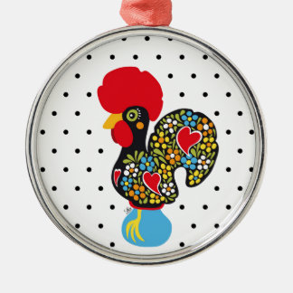 Famous Rooster of Barcelos Nr 06 - Polka Dots Metal Ornament