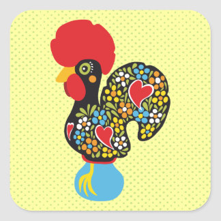 Famous Rooster of Barcelos Nr 06 Square Sticker