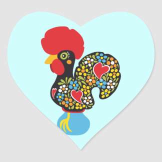 Famous Rooster of Barcelos Nr 06 Heart Sticker