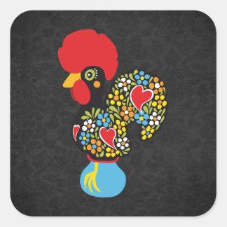 Famous Rooster of Barcelos Nr 06 - Vintage Black Square Sticker