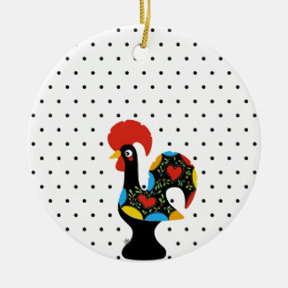Famous Rooster of Barcelos Nr 09 - Polka Dots Ceramic Ornament