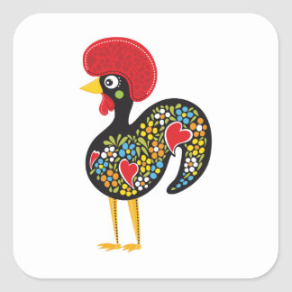 Famous Rooster of Barcelos Portugal Nr. 07 Square Sticker