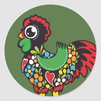 Famous Rooster of Barcelos Portugal Nr. 08 Round Stickers