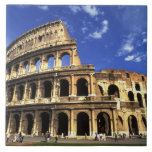 Famous ruins of the Coliseum in Rome Italy Large Square Tile