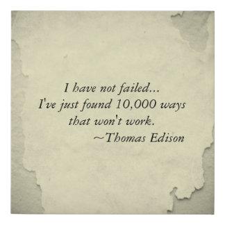 Famous Thomas Edison Quote Inspiration for Success Faux Canvas Print