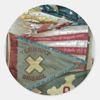 Famous Union Battle Flags - Plate 1 - Classic Round Sticker