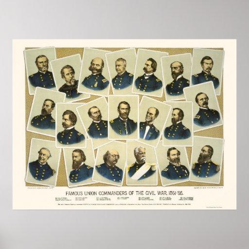 Famous Union Commanders 1884 Print