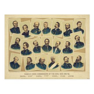 Famous Union Commanders of the Civil War Postcard