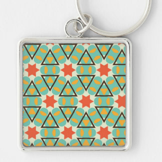 Famous Valued Poised One Silver-Colored Square Keychain