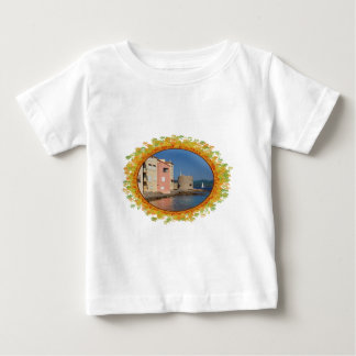Famous village Saint Tropez in frame of leaves Baby T-Shirt