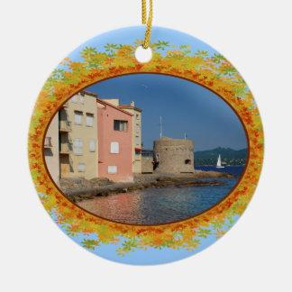 Famous village Saint Tropez in frame of leaves Ceramic Ornament