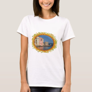 Famous village Saint Tropez in frame of leaves T-Shirt