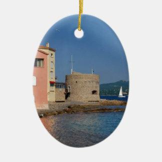 Famous village Saint Tropez in France Ceramic Ornament