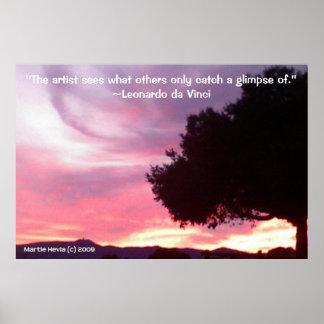 Famous Words: Tree - da Vinci - Poster