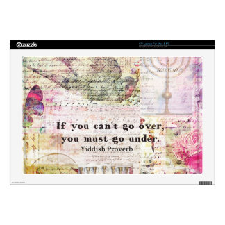 """Famous Yiddish proverb with Judaica themed art 17"""" Laptop Decals"""