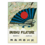 Fan and Sun Vintage Japanese Silk Label Card