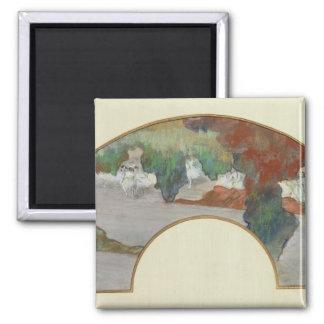 Fan, c.1879 (gouache & pastel on silk) fridge magnets
