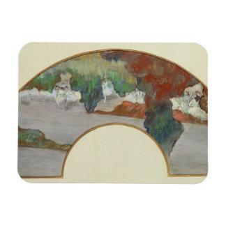 Fan, c.1879 (gouache & pastel on silk) flexible magnet