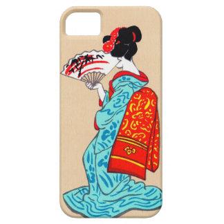 Fan clásica japonesa fresca del kimono de la funda para iPhone SE/5/5s