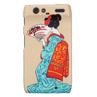 Fan clásica japonesa fresca del kimono de la señor droid RAZR fundas