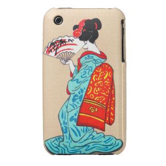 Fan clásica japonesa fresca del kimono de la señor iPhone 3 Case-Mate cobertura