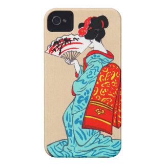 Fan clásica japonesa fresca del kimono de la señor iPhone 4 Case-Mate carcasa