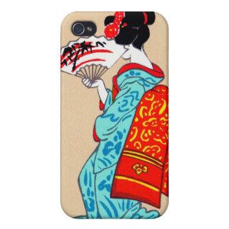 Fan clásica japonesa fresca del kimono de la señor iPhone 4 coberturas