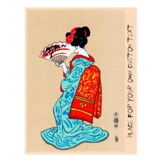 Fan clásica japonesa fresca del kimono de la señor postal