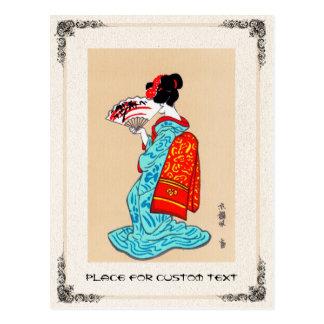 Fan clásica japonesa fresca del kimono de la señor tarjetas postales