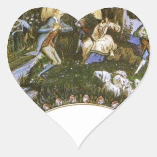 Fan con caricaturas de Eugene Delacroix Pegatina En Forma De Corazón